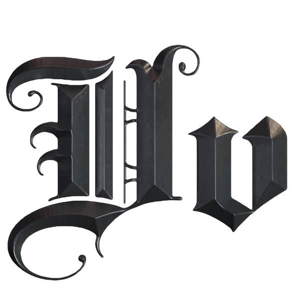 elegante mittelalterliche gotische buchstabe v. 3d rendering - handschriftliche typografie stock-fotos und bilder