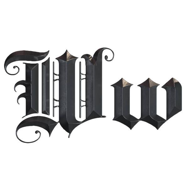 elegante mittelalterliche gotische buchstabe w. 3d rendering - handschriftliche typografie stock-fotos und bilder