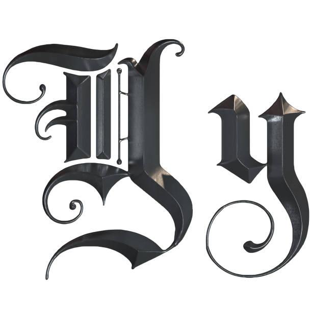 elegante mittelalterliche gotische buchstabe y. 3d rendering - handschriftliche typografie stock-fotos und bilder