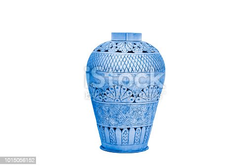 Elegant Metal vase isolated on a white background (glass, empty, vase)