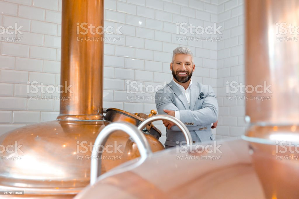 Elegant microbrewery owner standing by copper vat Elegant micro brewery owner standing in fermenting section of beer manufacturing factory. Handsome businessman standing by a copper vat in brewery. Adult Stock Photo