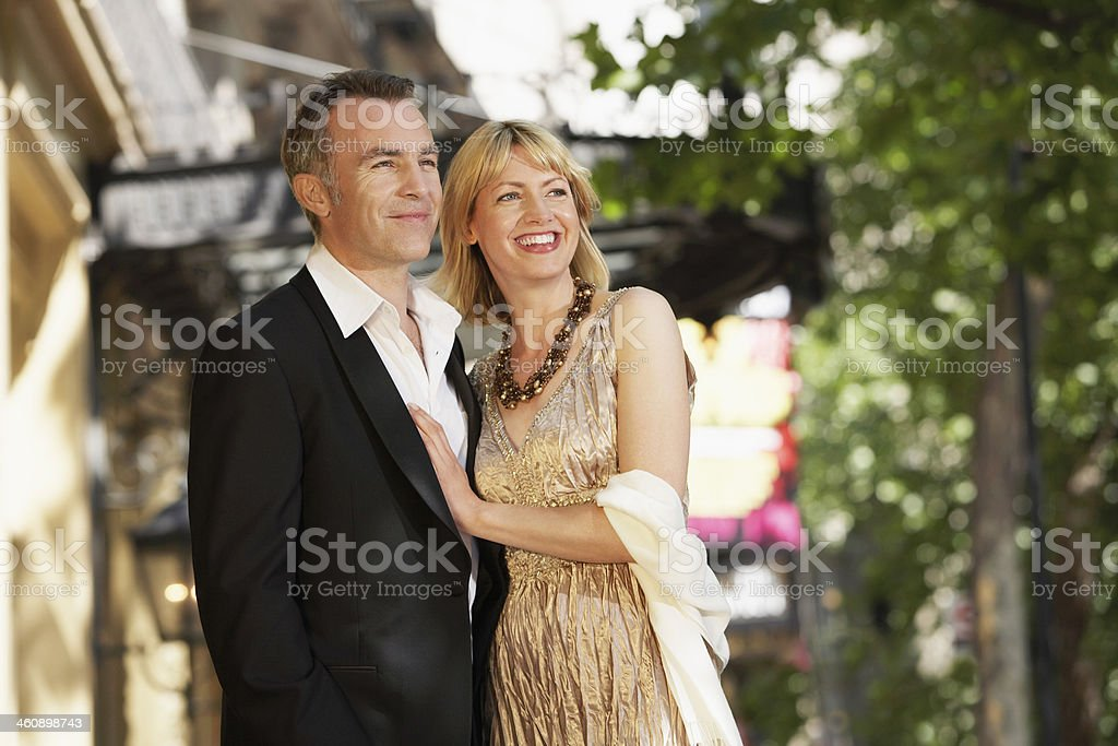 Elegant Middle Aged Couple On London street stock photo