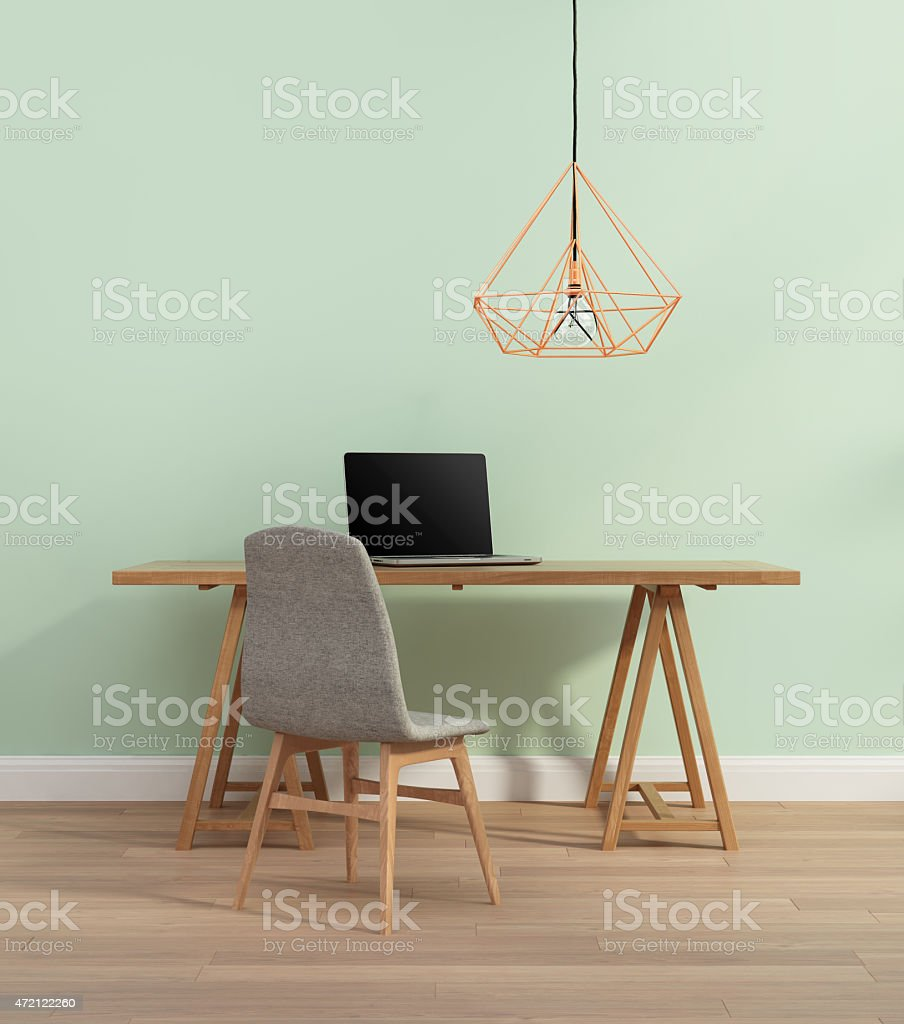 Elegant minimal mint home office with chair stock photo