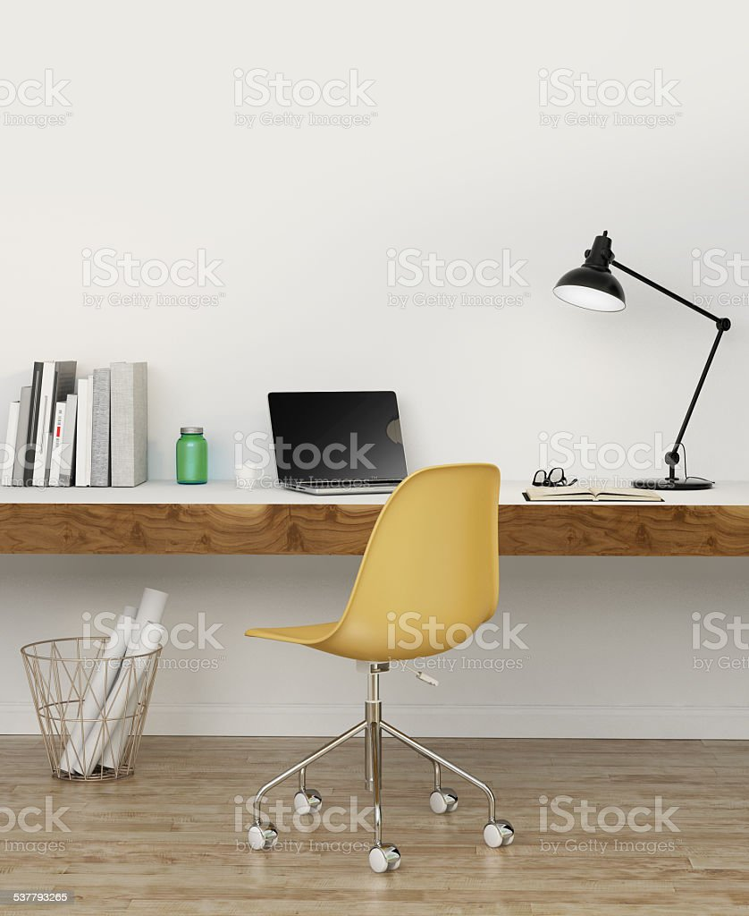 Elegant Minimal White Home Office Stock Photo Download Image Now Istock