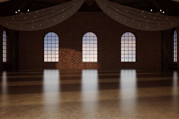 elegant modern ballroom / wedding venue, 3d render. - sala balowa zdjęcia i obrazy z banku zdjęć