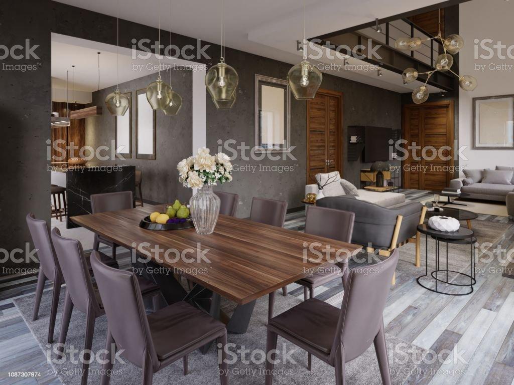 Elegant modern dining room interior. Dining room in luxury home....