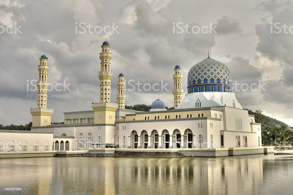 Elegant Mosque with water on a cloudy day in Kota Kinabalu stock photo