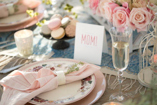 Elegant Mother's Day Dining Table stock photo