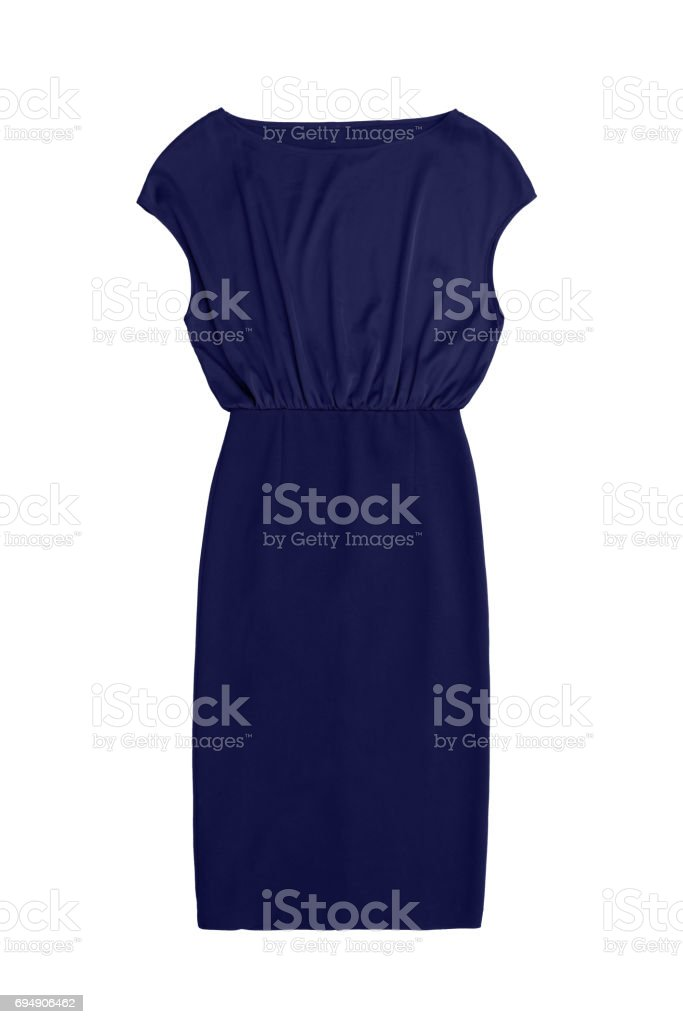 elegant navy blue cocktail dress, isolated on white background stock photo