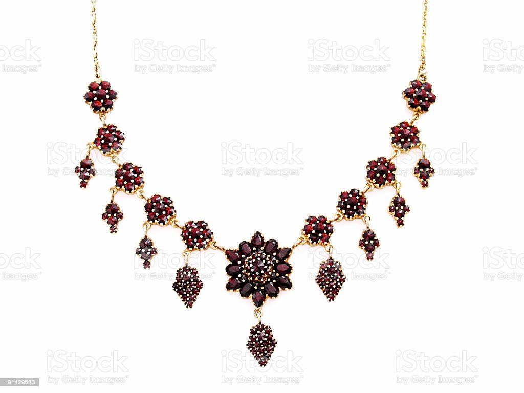 Elegant Necklace with Granate gem stones royalty-free stock photo