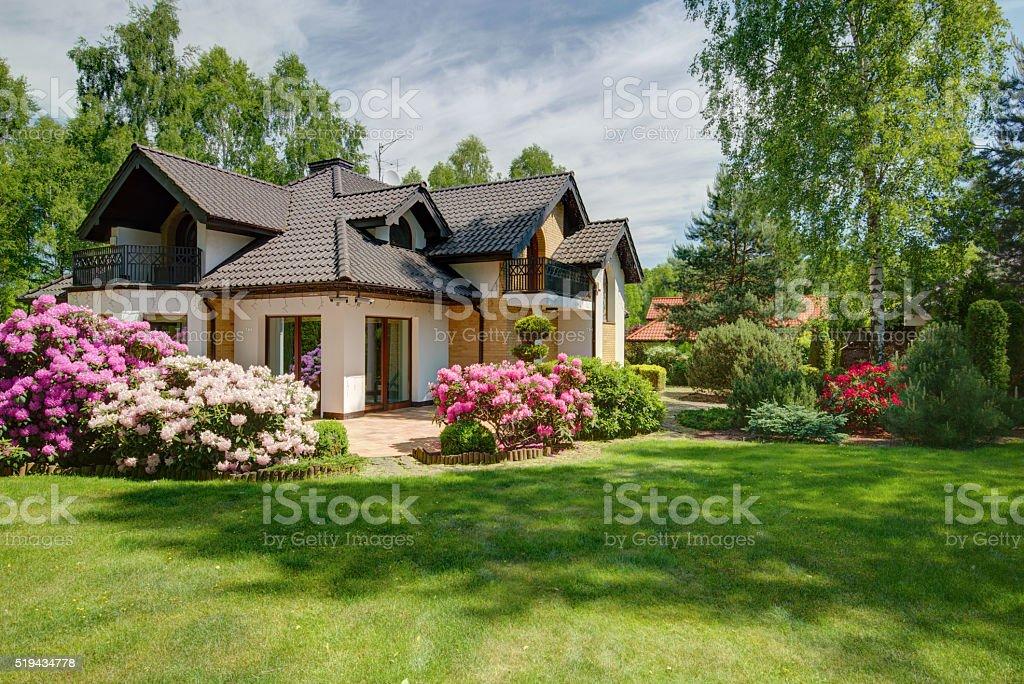 Elegant new villa with backyard bildbanksfoto