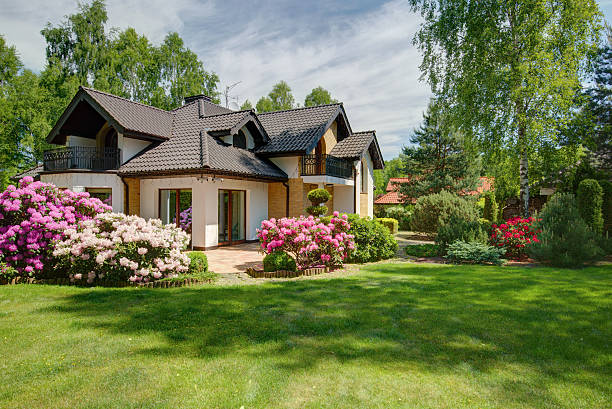 elegant new villa with backyard - stately home stock photos and pictures