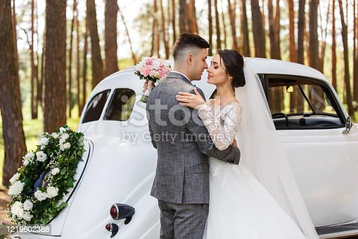 Elegant newlyweds, groom in grey suit and bride in wedding dress with long sleeves and long veil looking at each other near white Just Married car