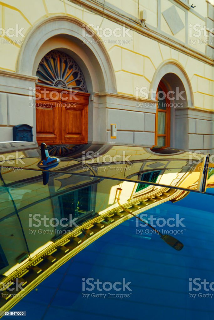 Elegant Old Building Reflected In Car Roof Stock Photo & More