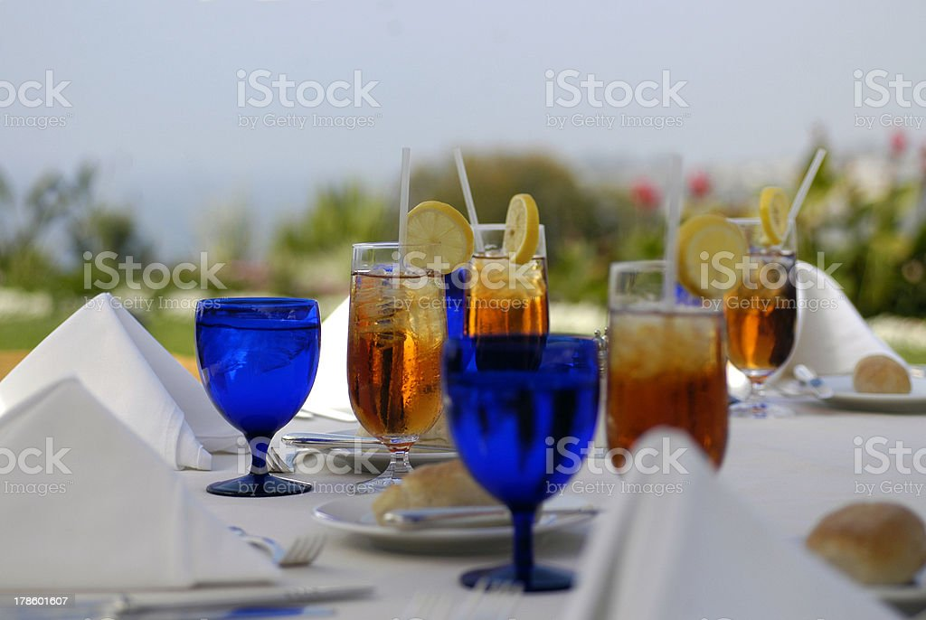 Elegant outdoor lunch setting on hotel terrace royalty-free stock photo