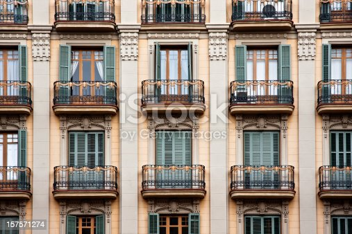The elegant facade of a nineteenth century royal palace in Barcelona, Spain.