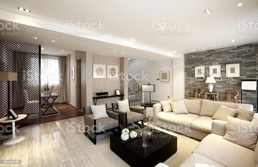 Elegant parlor interiors stock photo