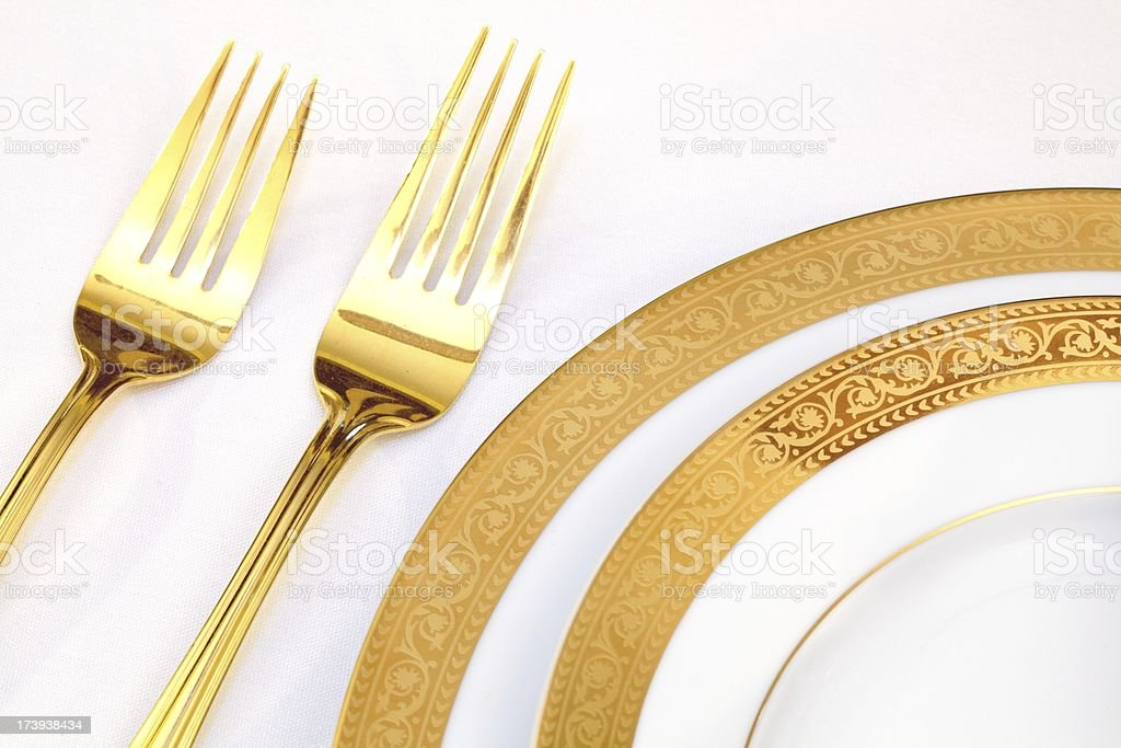 Elegant Place Setting with white and gold royalty-free stock photo