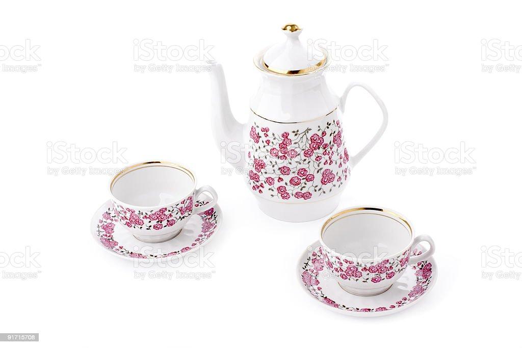Elegant porcelain tea set royalty-free stock photo