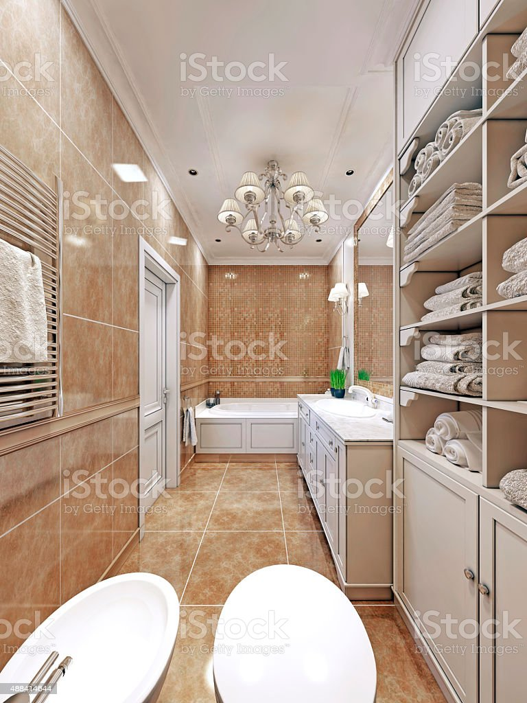 Elegant  provence bathroom design stock photo