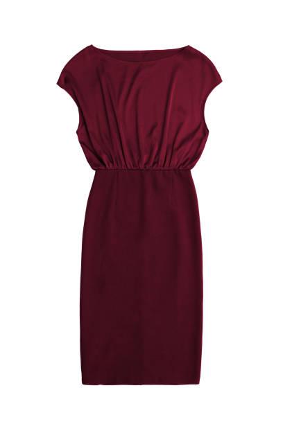 elegante rote cocktail-kleid, isoliert auf weißem hintergrund - rote bleistiftröcke stock-fotos und bilder