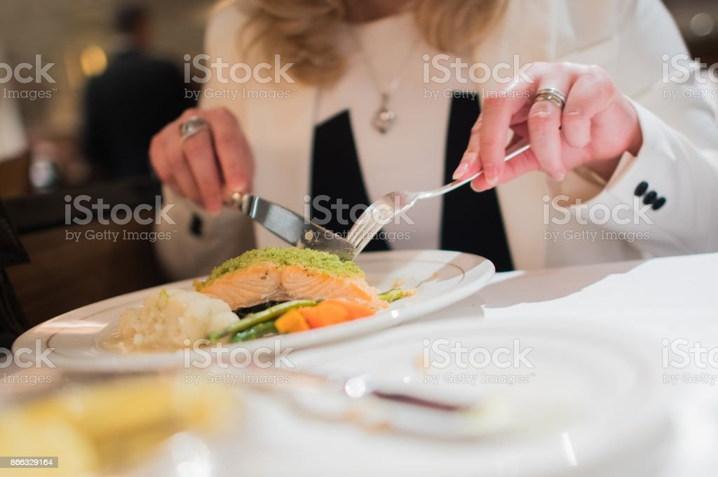 Elegant Restaurant Dinner stock photo