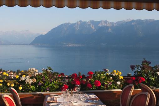 Elegant Restaurant overlooking Lake Geneva