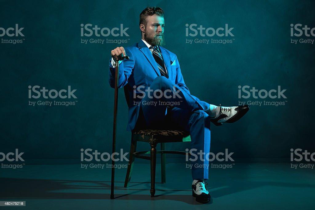 Elegante retro-Stil mit einer Zuckerrohr Herren Lizenzfreies stock-foto
