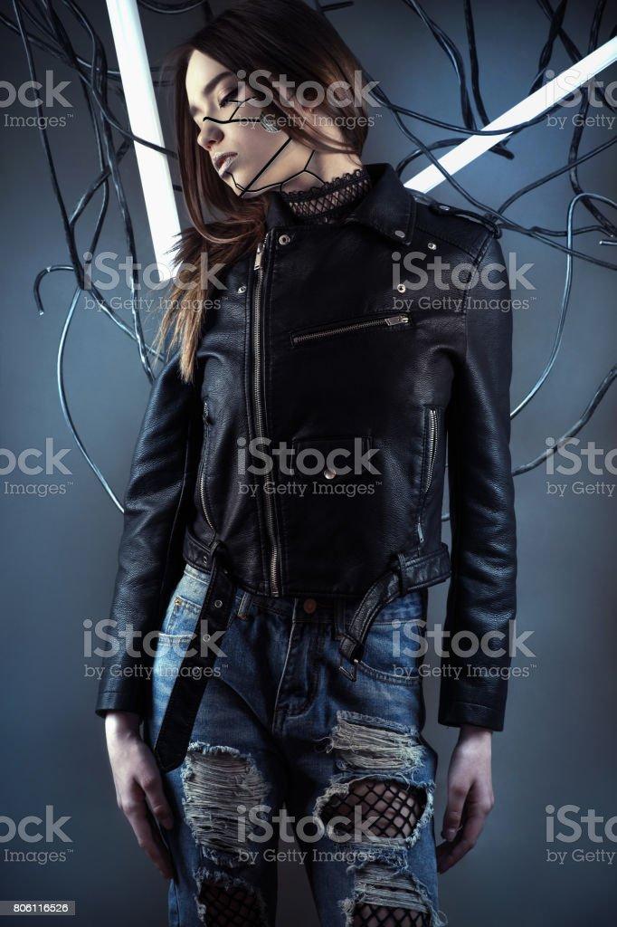 Veste en cuir pour fille ado