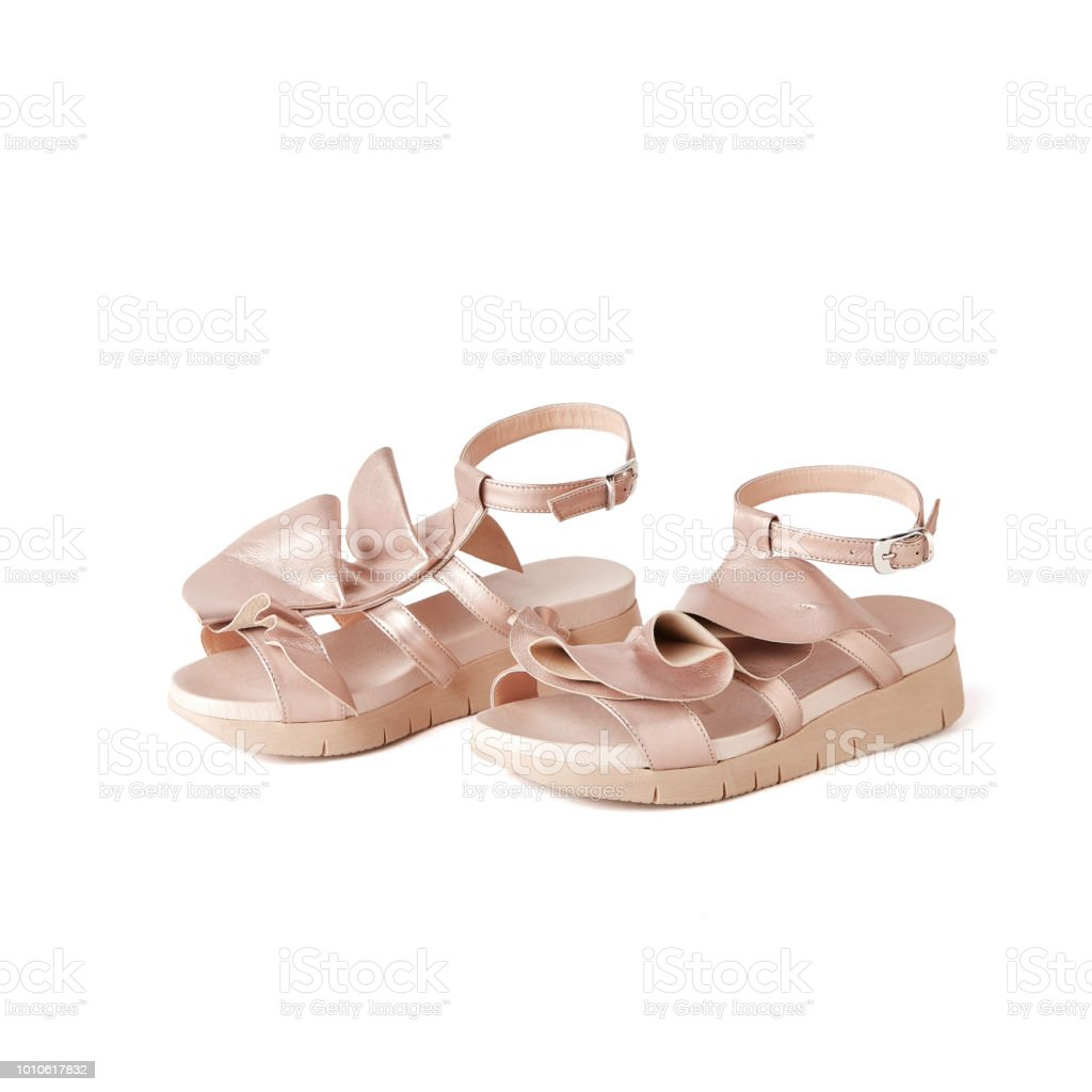 82fede33a88b Elegant Rose Gold Flat Sandals With Ruffles On Top Studio White ...