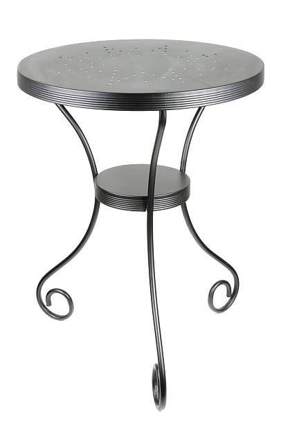 elegante runde schwarze tisch - couchtisch metall stock-fotos und bilder