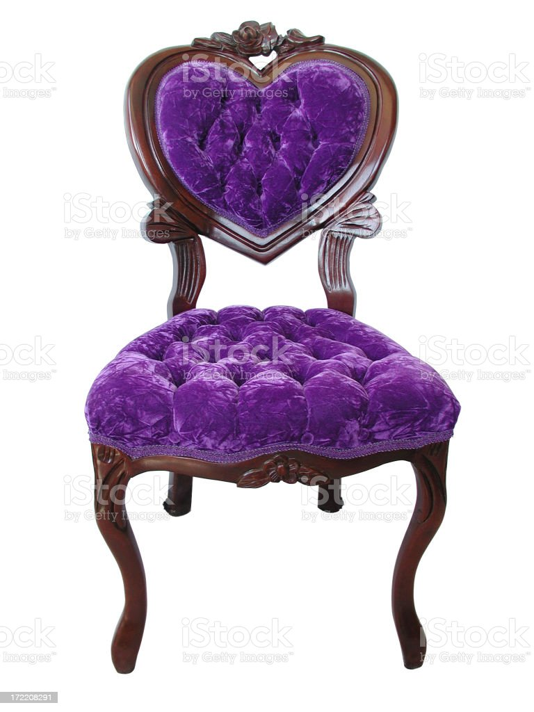 Elegant Royal Purple Chair with Wood Trim and Heart-shaped Backrest royalty-free stock photo