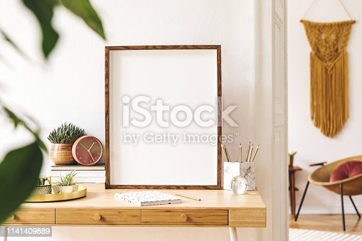 Creative desk of home decor. Warm and sunny room. Mock up concept. Template.