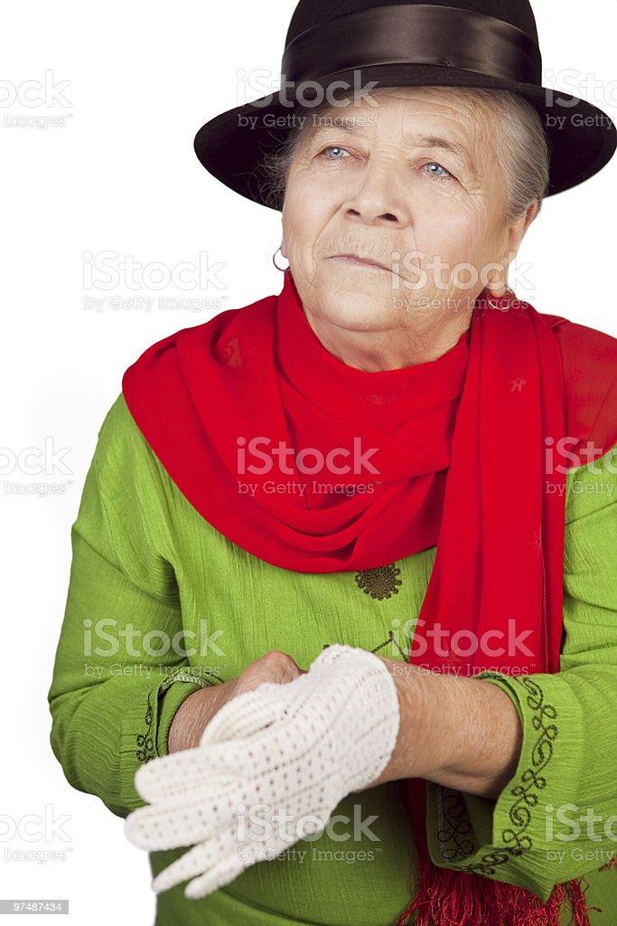 Elegant senior old lady and white glove royalty-free stock photo