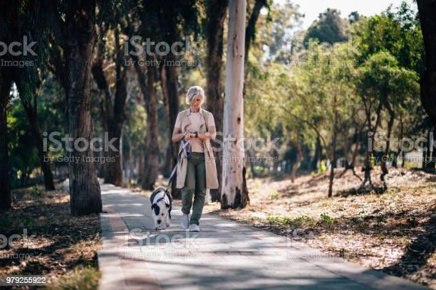 Elegant senior woman walking dog and checking smartphone in park picture id979255922?b=1&k=6&m=979255922&s=612x612&h= qefmccupekigx8eq9j0tvhr2siekqbk4tonymf6edu=