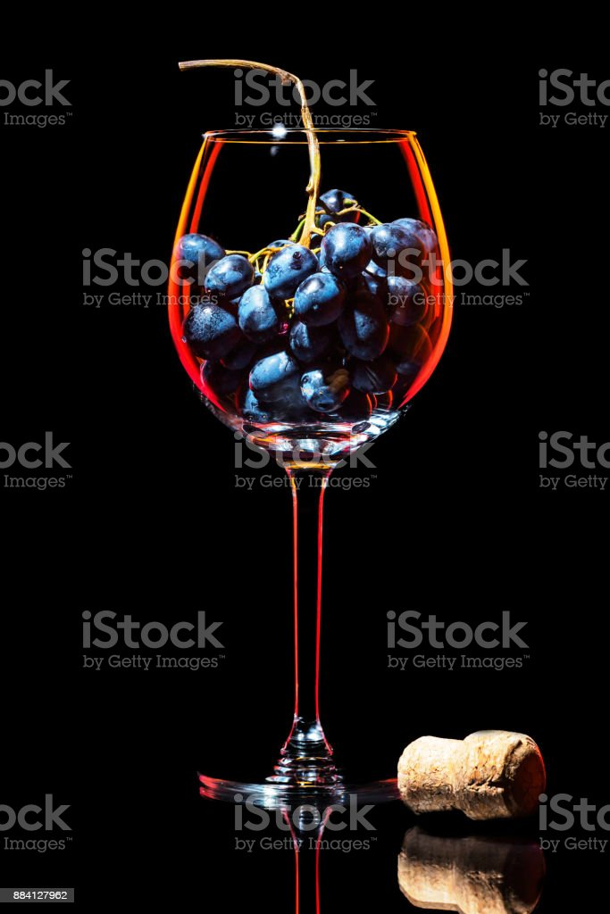 Elegant silhouette wine glass with cluster of red grapes and traditional cork stock photo