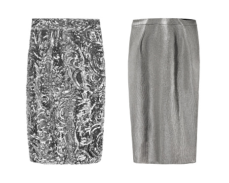 2 elegant silver pencil skirt s sequins and textile isolated white