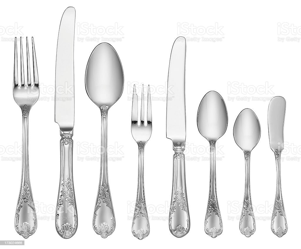 Elegant Silverware Set (Clipping Path) stock photo