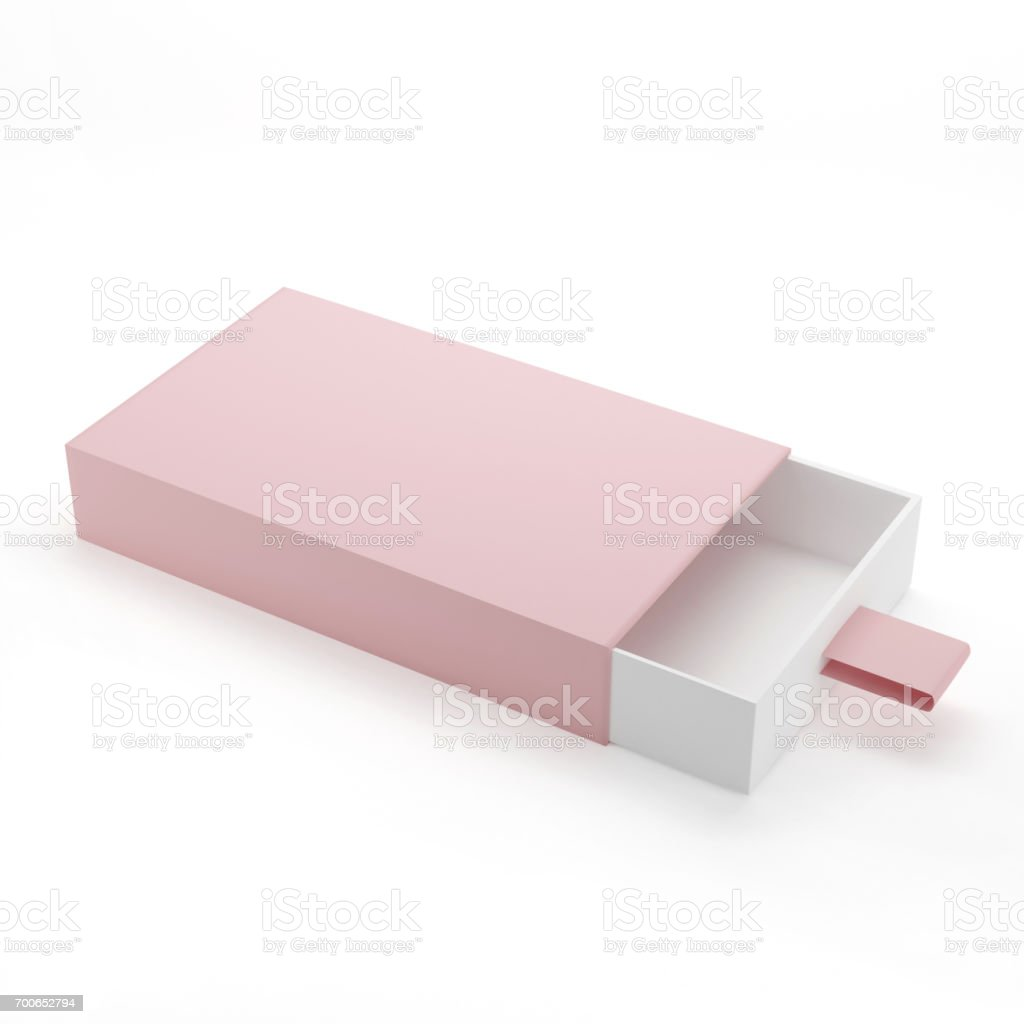 Elegant Sliding Box Mock-Up Template On White Background stock photo