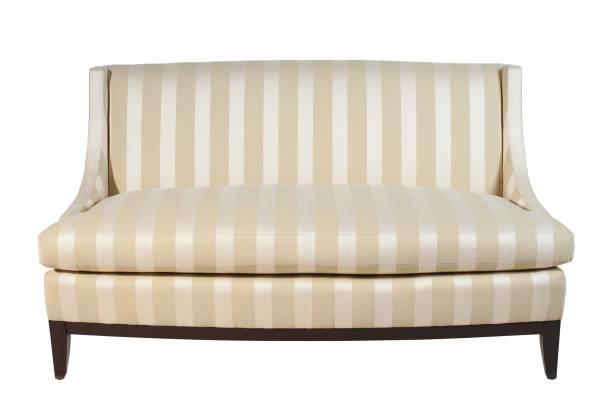 Elegant sofa isolated on white background. Clipping path. stock photo