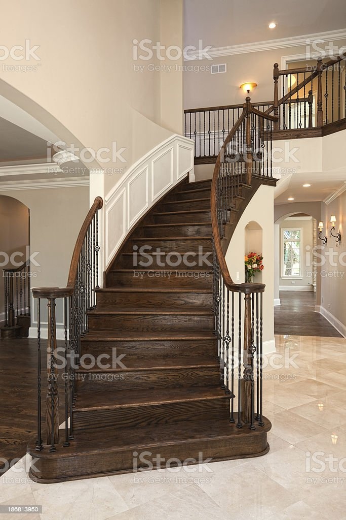 Elegant staircase in an upscale home. royalty-free stock photo