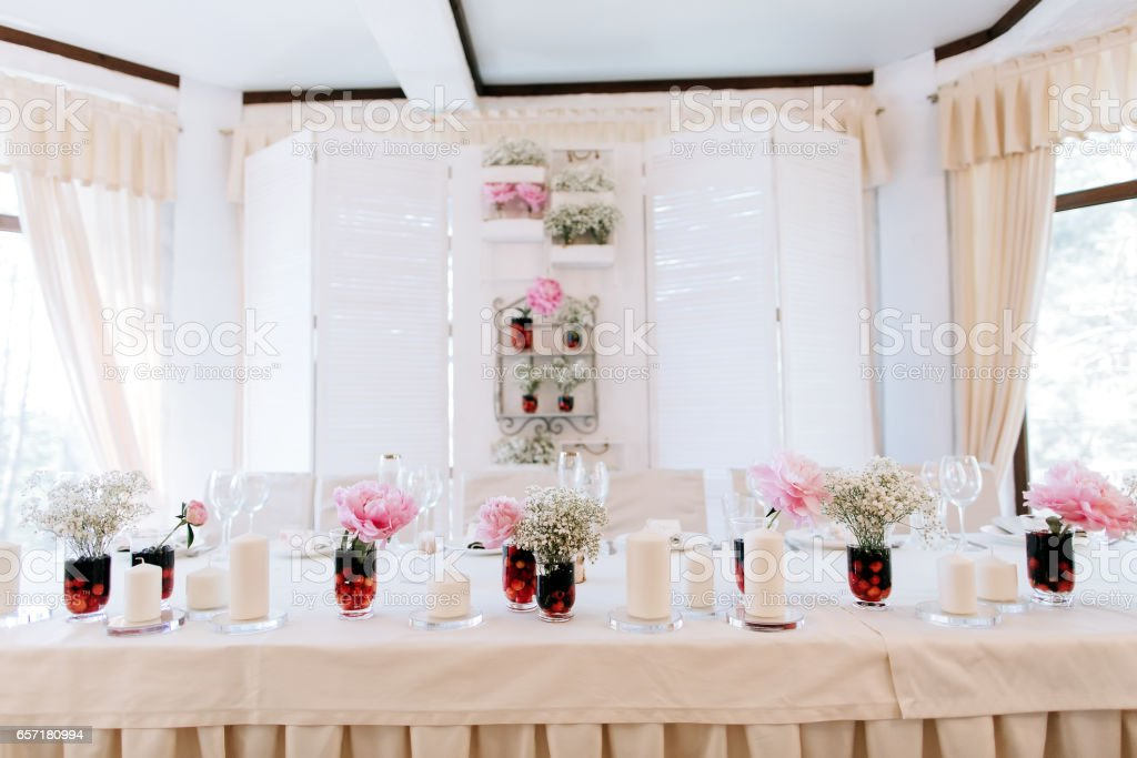 Elegant Table Arrangement And Catering At Wedding Reception Wedding