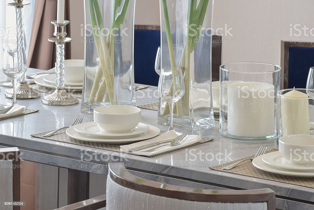Elegant Table Set On Marble Dining Table In Dining Room Stock Photo Download Image Now Istock