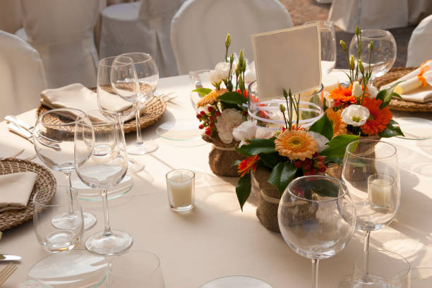 Elegant table setting for a wedding in Italy - foto stock