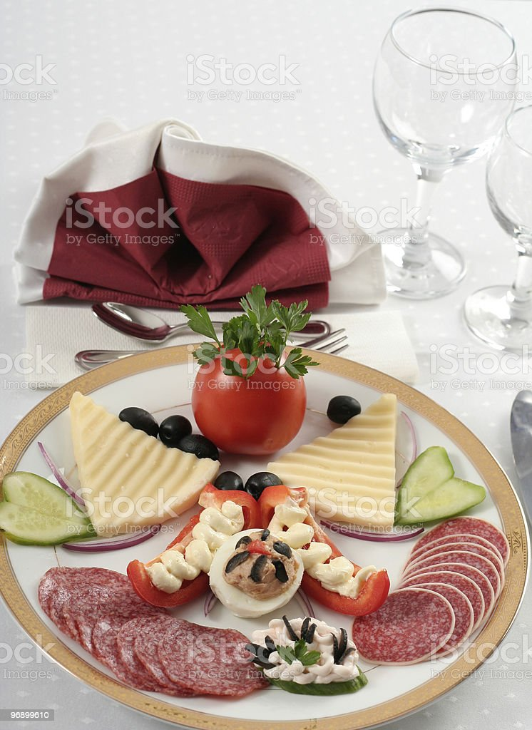 Elegant table setting with appetizers royalty-free stock photo