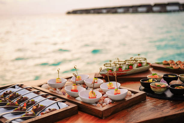 Elegant tapas by the sea in the sunset