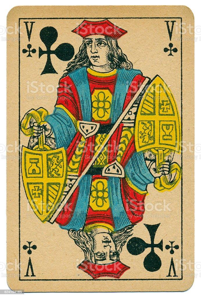 Elegant Valet Knave of Clubs Biermans playing card Belgium 1910 stock photo