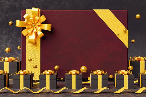 elegant velvet greeting card with golden ribbon