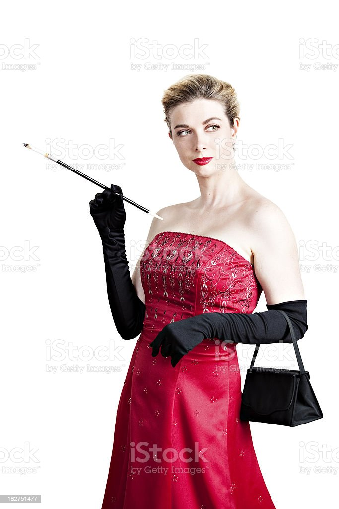 Elegant villainess looking deviously to the side stock photo