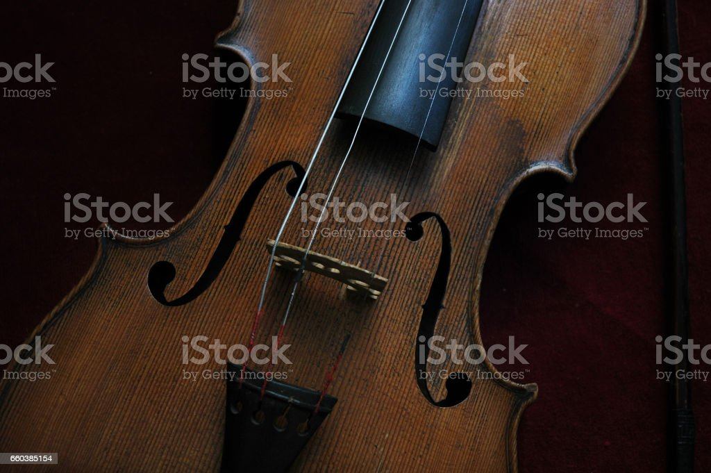 Elegant violin closeup stock photo